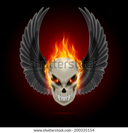 Mutant skull with long fangs, orange flame and raised wings - stock vector