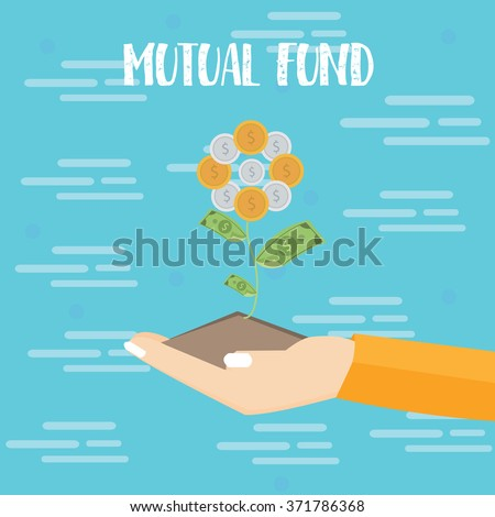 mutual fund investment hand grow plant dollar coin vector flat illustration - stock vector