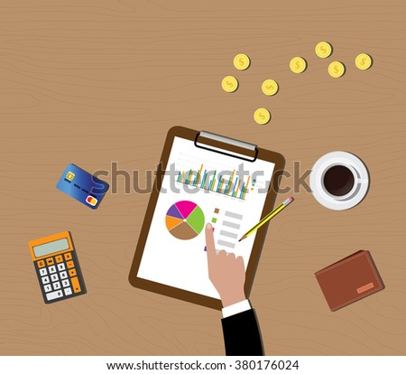 mutual funds data graph in clipboard with gold coin wallet calculator vector illustration - stock vector