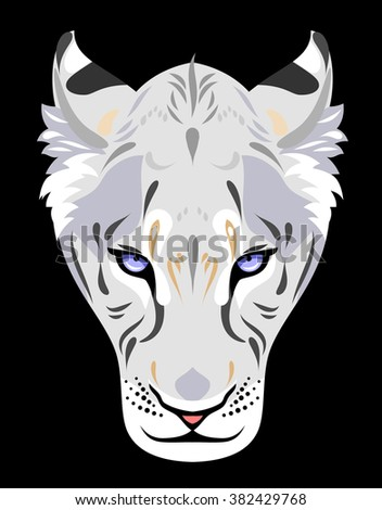 Muzzle of a white lioness - stock vector