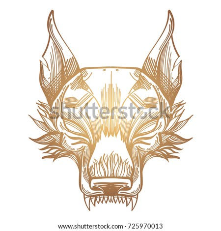 Young wolf stock images royalty free images vectors for Thin line tattoo artists near me