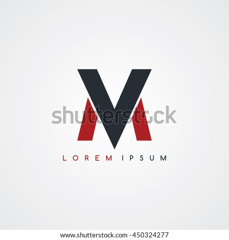 mv initial letter linked uppercase logo black red in white background