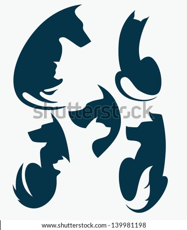 my favorite pet, vector collection of animals silhouettes - stock vector