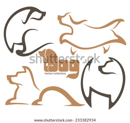 my favorite pet, vector collection of dogs symbols - stock vector
