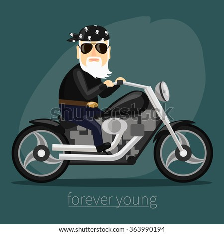 my grandfather forever young biker - stock vector