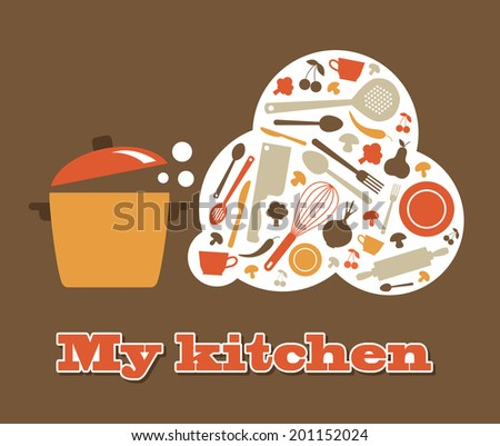 my kitchen card design. vector illustration - stock vector