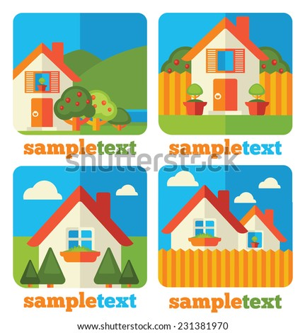 my little home, vector cartoon country in flat style, icons collection - stock vector