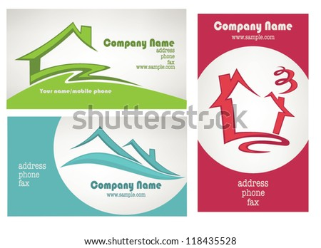 my little home, vector collection property and real estate business cards - stock vector