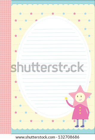 My little star writing paper design stock vector 132708686 for Cute paper designs