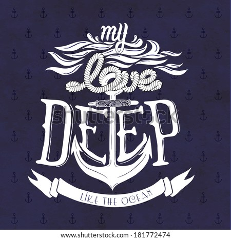 My love deep like the ocean - stock vector