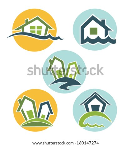 my lovely home, vector collection of property symbols - stock vector