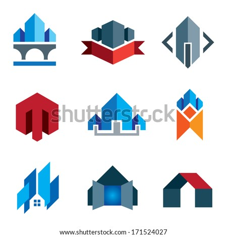 My new age generation - historic virtual building construction logo architecture company label and creation of 21st century business smart house or family home icon set