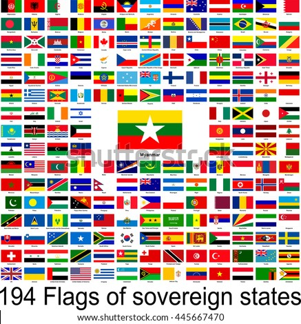 Myanmar, collection of vector images of flags of the world