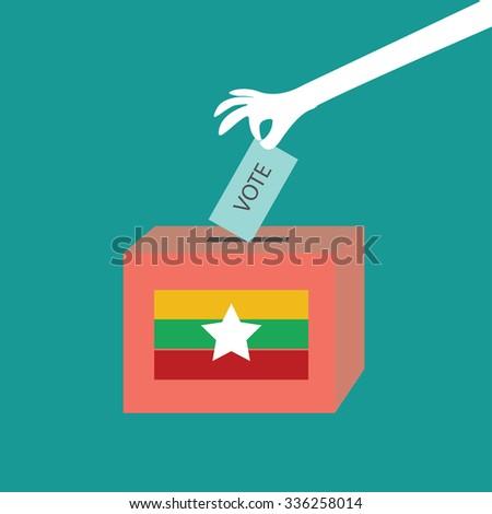 Myanmar election vote sign - stock vector