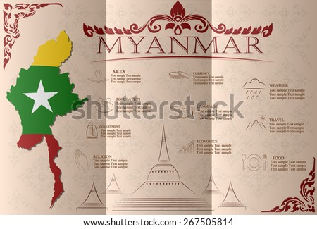 Myanmar infographics, statistical data, sights. Vector illustration - stock vector