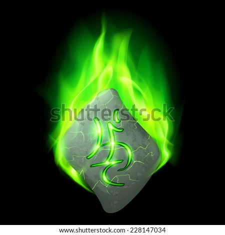 Mysterious bend stone with magic rune burning in green flame