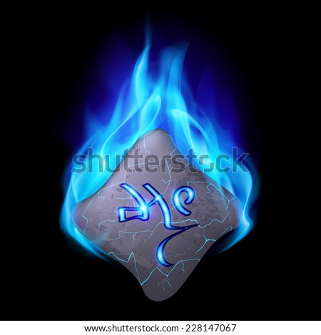 Mysterious bend stone with magic rune in blue flame
