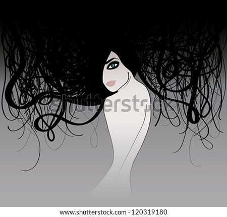 Mysterious black-haired woman / Portrait of girl with Beautiful long hair - stock vector
