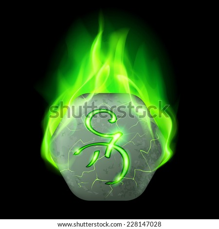 Mysterious hexagonal stone with magic rune in green flame