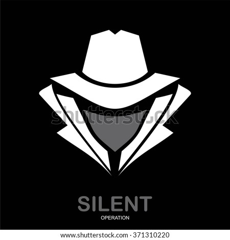 Mysterious man in white suit with the mask on black background. Secret service agent icon. Incognito. hacker. spy agent. undercover.  - stock vector