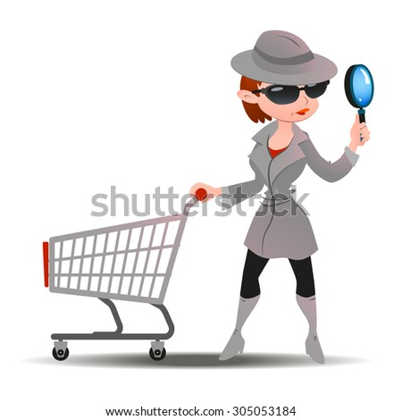 Mystery shopper woman in spy coat, boots, sunglasses and hat with magnifier and shopping cart. Full-length vector. - stock vector
