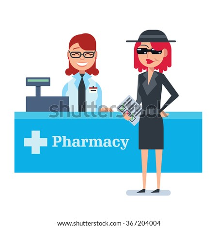 Mystery shopper woman in spy coat checks drugstore - stock vector