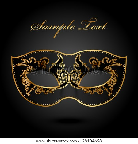 Mystery - vector background with ornate mask - stock vector