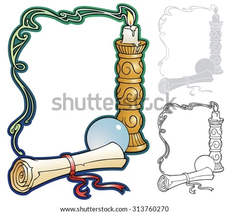 Mystic candle border, with crystal ball and scroll. comes with black outline version, and stencil version for printing on dark backgrounds. - stock vector