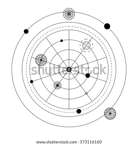 Mystical geometry symbol. Linear alchemy, occult, philosophical sign. For music album cover, poster, flyer, sacramental logo design. Astrology, imagination, creativity, superstition, religion concept. - stock vector