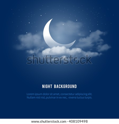 Mystical Night sky background with half moon, clouds and stars. Moonlight night. Vector illustration. - stock vector