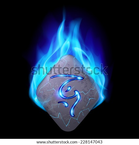 Mythic diamond-shaped stone with magic rune in blue flame