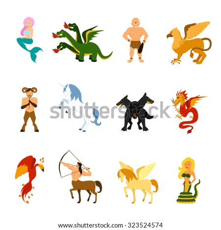 Mythical creatures and monsters from different mythologies and fairy tales flat cartoon images set isolated vector illustration - stock vector