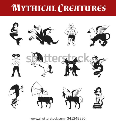 Mythical creatures black and white decorative icons set isolated vector illustration