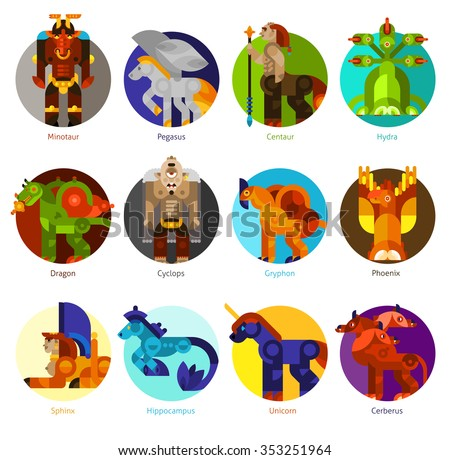Mythical creatures flat icons set with classic mythology animals isolated vector illustration - stock vector