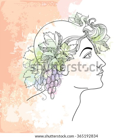 Mythological Dionysus or Bacchus in contour style on the beige background with blots in pastel colors. God of the winemaking and wine in Greek mythology. Series of mythological creatures. - stock vector