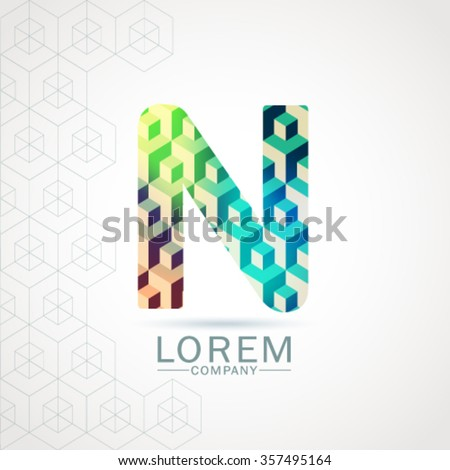 N Letter Alphabet Logo Icon Design Pattern Template Element. Vector Color Sign Easy Editable for Your Design. - stock vector
