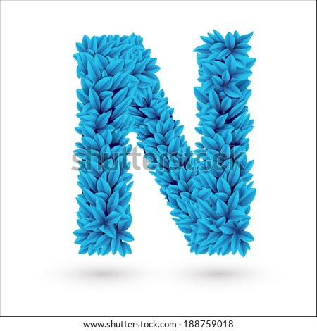 N letter. Blue font vector element isolated on white.