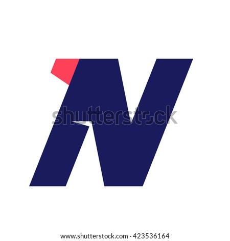 N letter run logo design template. Vector sport style typeface for sportswear, sports club, app icon, corporate identity, labels or posters. - stock vector