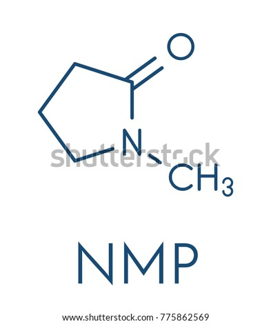 Nmethyl 2 Pyrrolidone Nmp Chemical Solvent Molecule Skeletal Stock