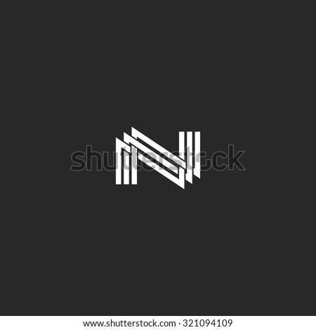 N Monogram Letter Logo Overlapping Thin Stock Vector 2018