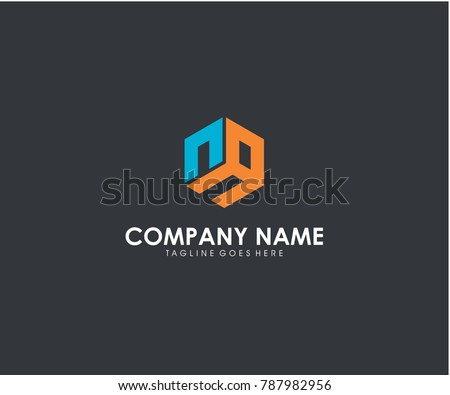 Na Initial Modern Hexagon Symbol Icon Stock Vector 787982956