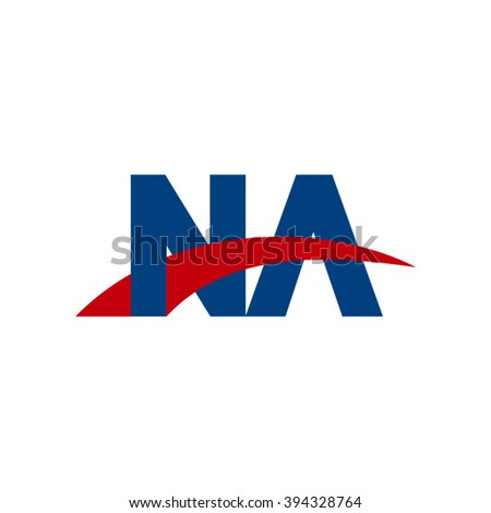 NA initial overlapping swoosh letter logo blue red