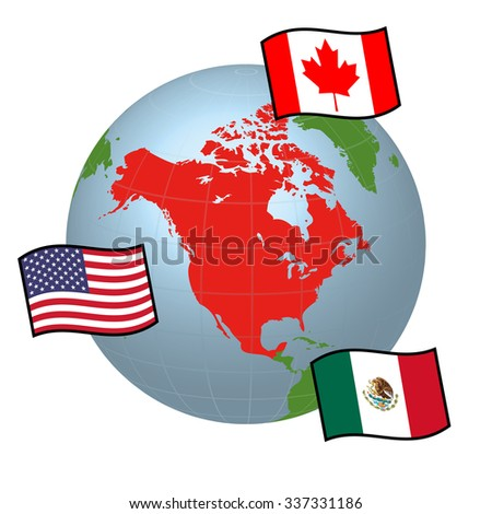 Nafta North American Free Trade Agreement Stock Vector 337331186