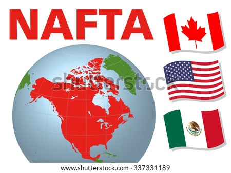 Nafta North American Free Trade Agreement Stock Vector 337331189