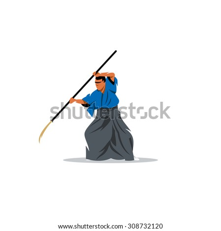 Naginatajutsu Japanese Samurai martial arts master with Naginata sign. Vector Illustration. Branding Identity Corporate logo design template Isolated on a white background