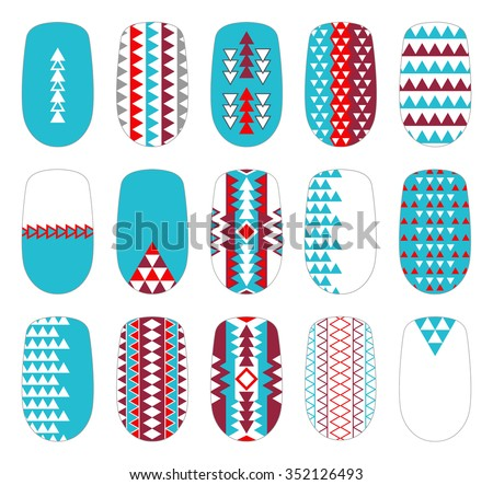 Nail art colorful geometric templates manicure stock vector nail art colorful geometric templates manicure design set can be used for false tips prinsesfo Choice Image