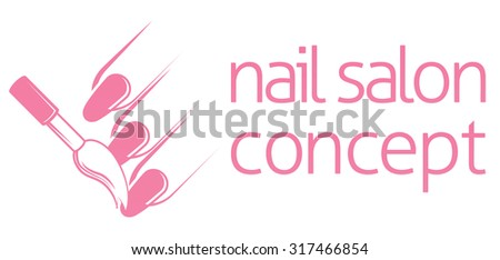 Nail bar technician, nail or salon manicurist concept of a nail being painted with a brush - stock vector