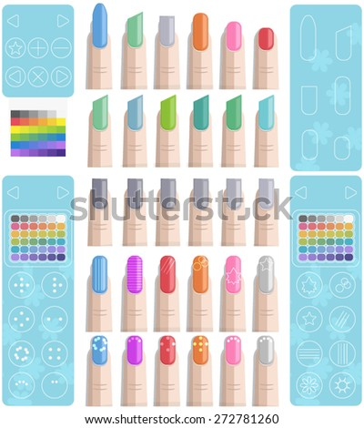 Nail Polish Art Template (For Mobile Apps/Games or Web) - stock vector