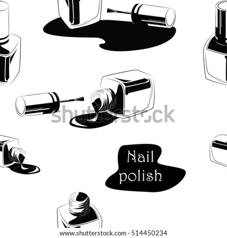 Nail polish background. Black graphic ink. Nail polish seamless pattern.