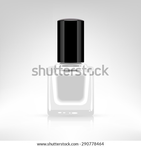Nail polish bottle vector illustration isolated on white. White color paint.